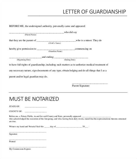 32 Notarized Letter Templates Pdf Doc Free Premium Templates Guardianship Letter In Of Template