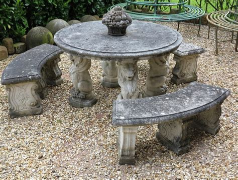 reconstituted stone  garden table  bench set