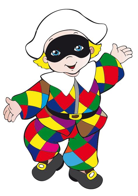 clipart per bambini maschere di carnevale italiane in versione bambini da