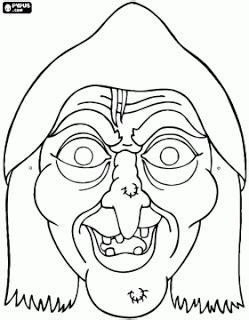 Máscaras de bruxas - máscara de bruxa para o dia das