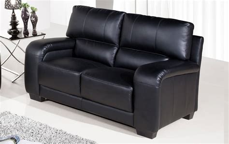 Two Seater Black Leather Sofa Sale Regular 2 Seater Black Leather Sofa Sofas Suite Range Settee Ebay