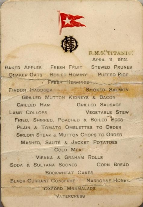 titanic menu for those in peril on the sea the titanic pinterest