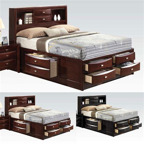 Storage Headboard King Ireland Black Espresso Bed Multi Drawers Storage Headboard Footboard Wood Ebay