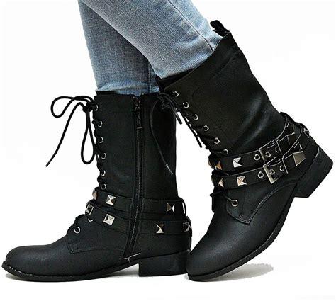 comeback boots new womens el1 black studded mid calf