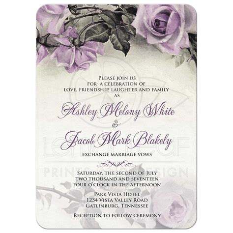 vintage wedding invitations with roses vintage mauve purple wedding invitation