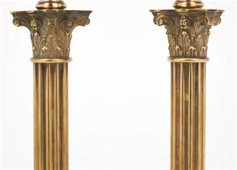 Column Table L by Vintage Pair Of Brass Corinthian Column Ls At 1stdibs