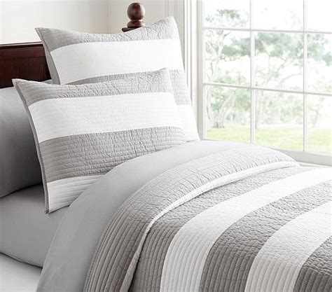 gray kids headboard with blue stripe bedding rugby stripe quilted bedding pottery barn kids gt for
