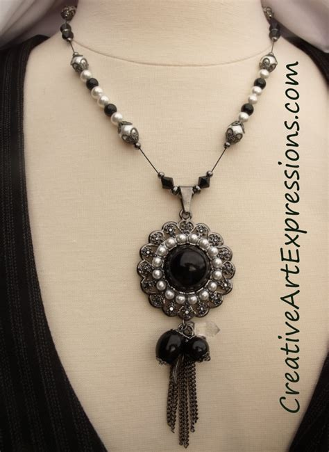 Necklace Handmade Design - creative expressions handmade black white pearl