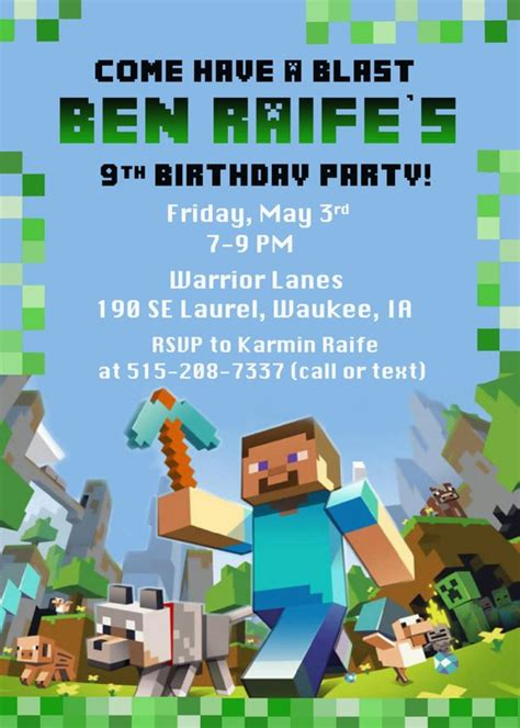 40th Birthday Ideas Free Printable Minecraft Birthday Invitation Templates Free Printable Minecraft Birthday Invitations Templates