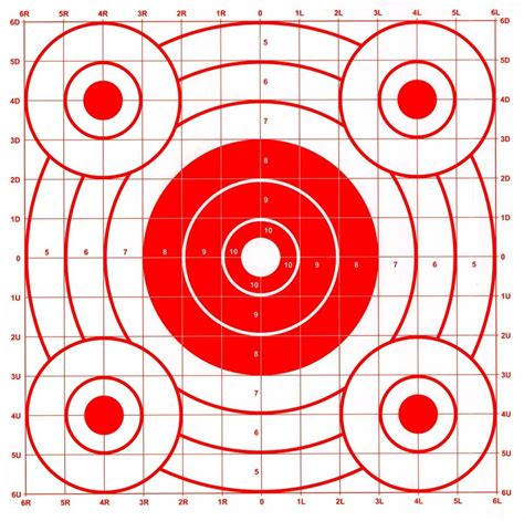 printable rifle pistol targets red pistol rifle sighting in bullseye paper shooting