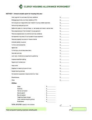 housing allowance taxable worksheet clergy housing allowance worksheet caytailoc free printables worksheets