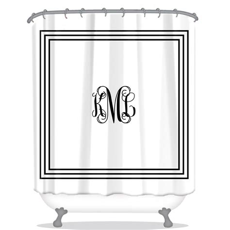 white monogrammed shower curtain classic monogram personalized shower curtain monogrammed