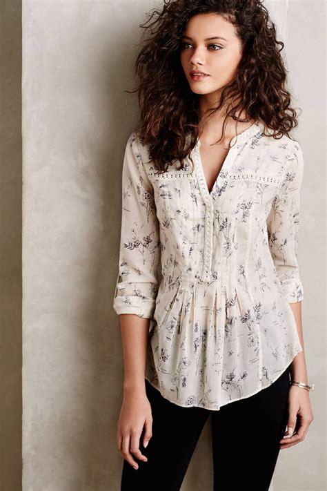 Abella Blouse at anthropologie abella pintuck blouse in black motif