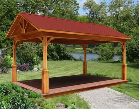 Gable Roof Gazebo Cedar Gable Roof Open Rectangle Gazebos With Treated