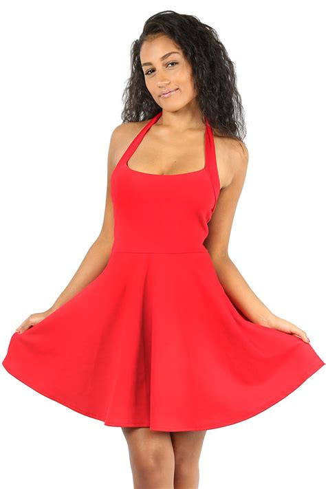 Wst 13086 Dress With Neck Size S womens halter neck backless pleated skater