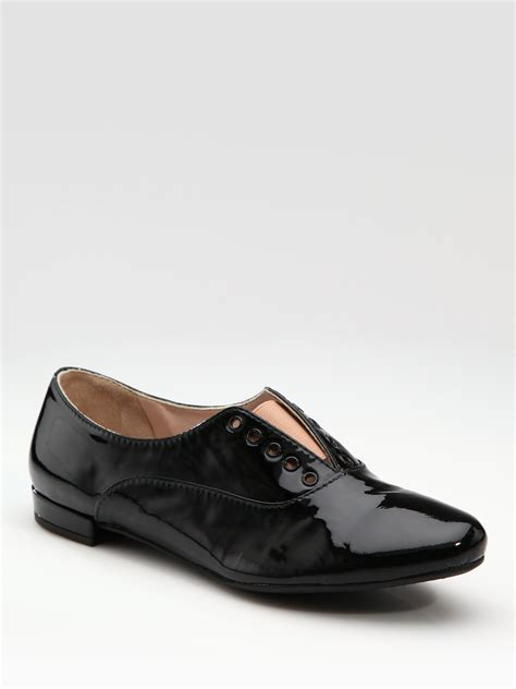 womens black patent leather oxford shoes miu miu patent leather laceless oxfords in black lyst