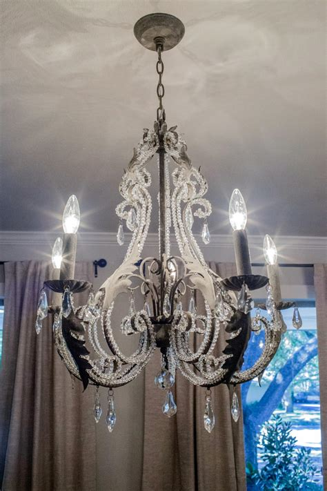 fixer chandelier in remodeled dining room