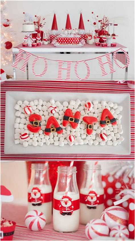 red and white christmas table adorable red white santa christmas party pizzazzerie