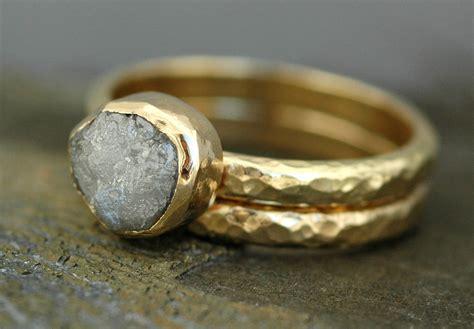 bezel set large engagement ring and wedding band