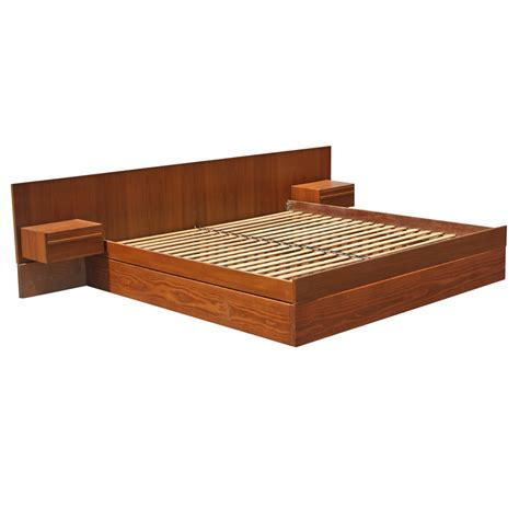 Platform Bed With Attached Nightstands midcentury retro style modern architectural vintage furniture from metroretro and mcm consignment