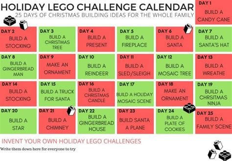 lego challenges for children lego building ideas calendar countdown for