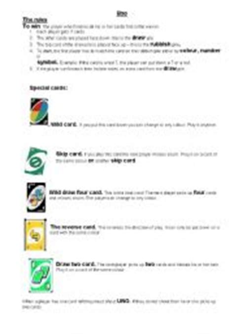 printable uno card game rules english worksheets uno instructions