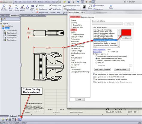 solidworks rotate section view all drawing dimensions the wrong colour see if the