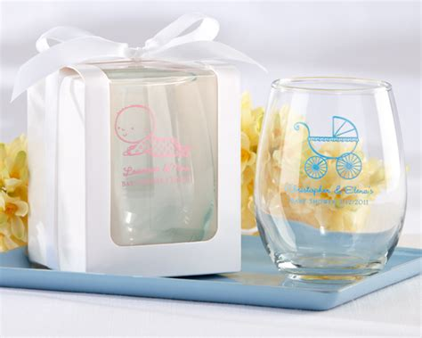 where to buy baby shower favors personalized stemless wine glass baby shower favors by