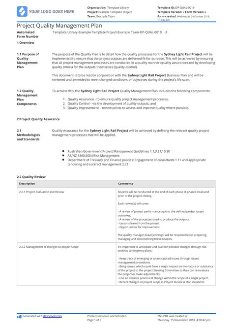 quality assurance plan  construction   customisable template