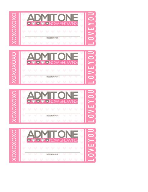 free printable valentine love coupons free printable tickets to love valentine coupon book