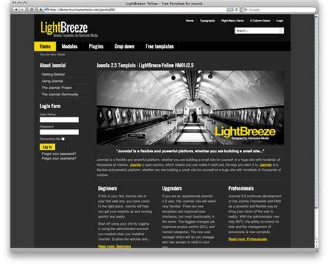 lightbreeze yellow free joomla template dark grey