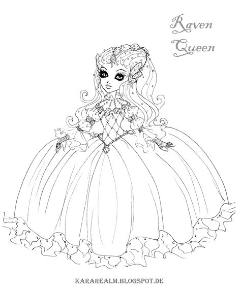 ever after high coloring pages thronecoming kara realm ever after high coloring pages raven queen