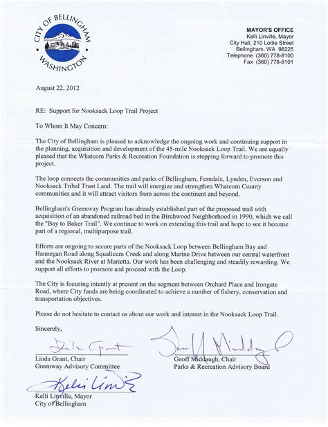 Letter Of Support For Council Housing Nooksack Loop Trail