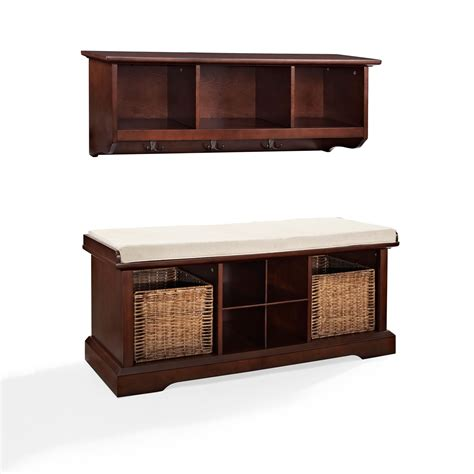 entry benches brennan mahogany two piece entryway bench and shelf set crosley furniture storage