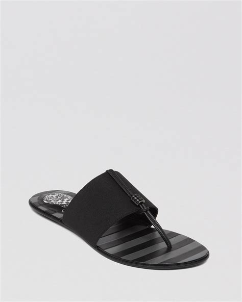 vince camuto flat shoes vince camuto flat stretch sandals wayne in black lyst