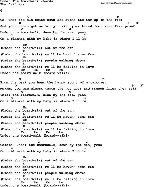 guitar lyrics song lyrics with guitar chords for the boardwalk