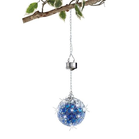 Collectionsetc Outdoor Solar Hanging Pendant Ball W Blue Solar Powered Hanging Lights