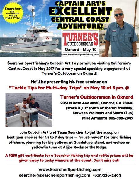 turner s outdoorsman oxnard team searcher is headed to the central coast blue chum