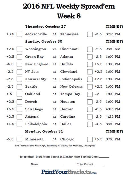 printable nfl schedule for week 7 nfl week 8 pick em against the spread sheets printable