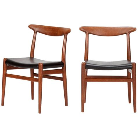 pair of hans wegner dining chairs w2 for c m madsen