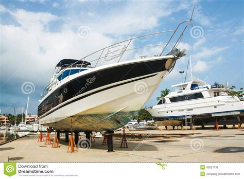 dry dock boat repair boat on stands stock image image of sport heavy outdoor