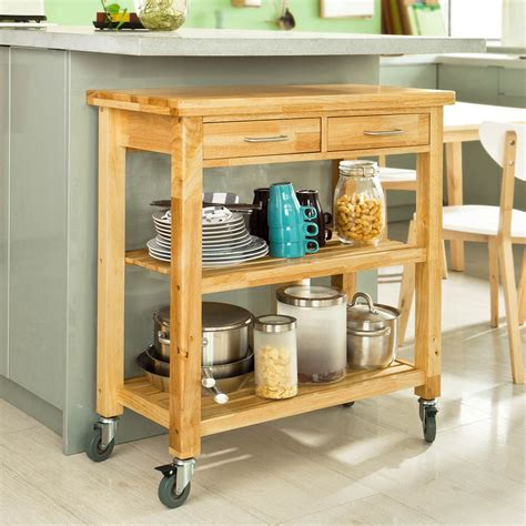 Kitchen Cart With Shelves by Sobuy Rubber Wood Kitchen Trolley Cart With Two Drawers