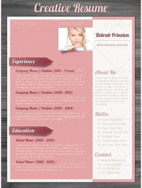 Creative Resume Template 79 Free Sles Exles Format Download Free Premium Templates Free Pretty Resume Templates