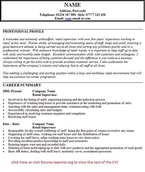 retail manager cv template uk exles of cv for retail costa sol real estate and