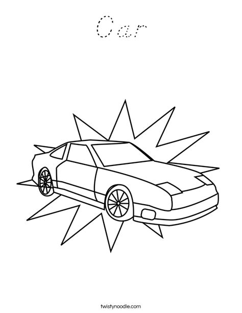 D Nealian Coloring Pages by Car Coloring Page D Nealian Twisty Noodle