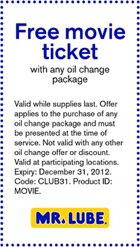 printable movie tickets coupons coupon free movie ticket with any oil change package