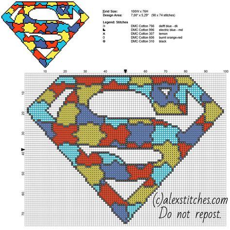 cross stitch pattern superman logo colored puzzle superman superhero logo free cross stitch
