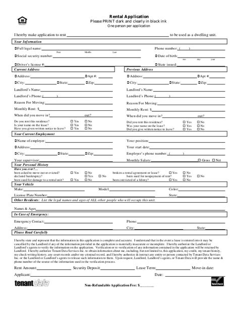 rental deposit form tenant application form