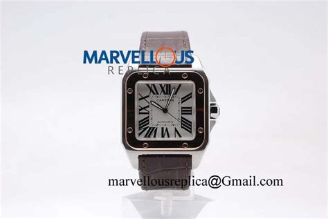 Cartier Swiss Eta White On Brown Leatter Strab cartier santos 100 ultimate replica a2824 2 white brown leather