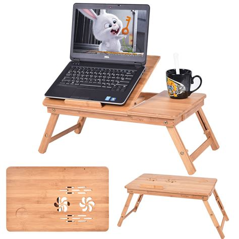 Bamboo Computer Desk Portable Bamboo Laptop Desk Table Folding Breakfast Bed Serving Tray W Drawer Ebay
